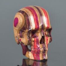 Skateboard Laminated Wood Human Skull Carving Art Sculpture Paperweight 16.39 g