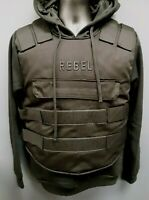Men's Rebel Minds Bullet Proof Vest-Styled Hoodie - Black