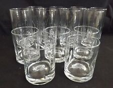 Set of 8 Waters & 5 Old Fashioned Glasses Pinched 1960's Mid-Century Modern