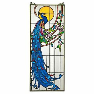 "TF26313 Peacock Sunset Stained Glass Window - 10"" x 25.5"" - New!"