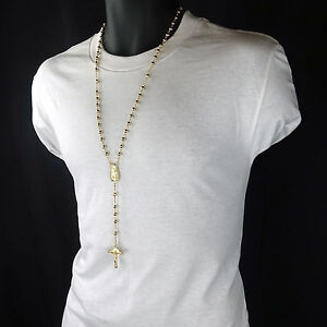 Mens Hip Hop 5mm GOLD Beads 14kt G.P (Guadalupe) Rosary & Jesus Cross Necklace