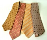 Men's Assorted Multi-Color Orange Dress Neck Ties Lot of 4 #1008 Designer Brands