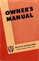 1948 Jeep Willys Wagons Owners Manual User Guide Reference Operator Book Fuses