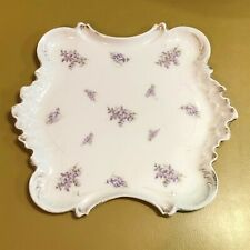 Vintage Porcelain Vanity Tray Germany Violets Flowers White square numbered