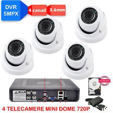 VIDEOSORVEGLIANZA DVR 5MPX + 4 Telecamere Mini DOME 720P + HD SATA + Alim