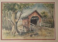 """Covered Bridge Watercolor by Artist Harlan King 1950's - 15 7/8"""" x 11"""""""