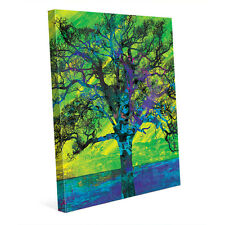 Radiant Tree in Green & Blue - Colorful Painting 16x20 Canvas Wall Art Print