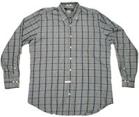 Peter Millar Mens Dress Shirt Size Large Button Down Collar 100% Cotton Plaid