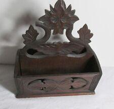 Antique Victorian Hand Carved Wood Wall Pocket Letter/Mail Holder Folk Art 1800s
