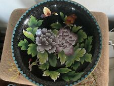 Antique Chinese cloisonne large bowl + 5 napkin rings