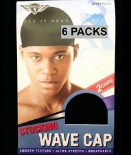 6 PACKS KING. J STOCKING WAVE CAP SMOOTH TEXTURE ULTRA STRETCH 2 PER PACK #061