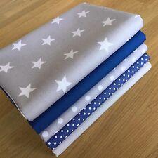 Blender tissus saphir bleu royal & gris fat trimestre bundle stars spots craft
