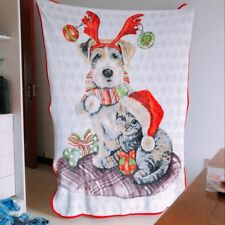Christmas dog coral fleece quilt blanket quilts anime carpet 150x120cm warm gift