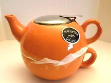 BISTRO BRIGHTS TEA FOR ONE TEAPOT AND TEA CUP WITH STAINLESS STEEL LID & INFUSER