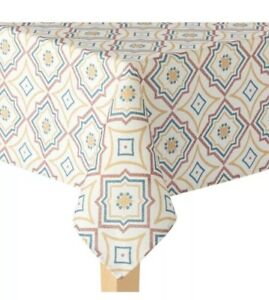 Food Network Textured Giant Geometric Print 70 in Round Fabric Tablecloth