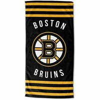 "Northwest NHL Boston Bruins Logo Striped Cotton Beach Towel 30"" x 60"" Brand New"