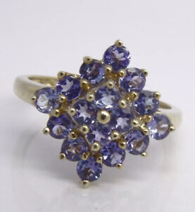 Tanzanite Cluster Ring - 9ct Yellow Gold - Small Size - UK Size L
