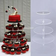 5Tier Crystal Clear Acrylic Round Cake Cupcake Stand Wedding Birthday Display FV