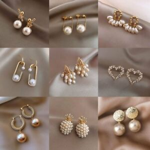 2021 Fashion Crystal Pearl Earrings Dangle Ear Stud Charm Women Wedding Jewelry
