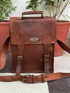 Mens Leather Handmade Laptop Shoulder Satchel Messenger Bag (Waxed Leather)