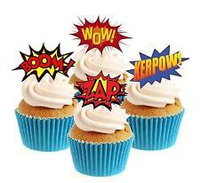 WOW superhero Splat collection 12 stand up Gaufrette Comestibles Papier glaçages pour gâteau