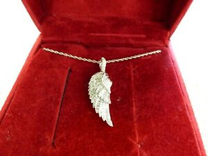"""Affinity Diamond 1/8 ct tw Sterling Angel Wing Pendant w/Chain 18"""" necklace"""