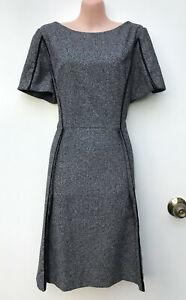 VERONIKA MAINE Black & White Woven Fabric A-Line Work/Career Dress 12