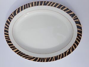 "RALPH LAUREN SAFARI ZEBRA ACCENT OVAL 18"" PLATTER SERVING DISH NEW AUTHENTIC"