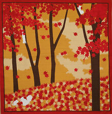 Furoshiki Cloth Japanese Cotton 'Squirrels & Maple Leaves' Asian Fabric 50cm