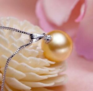 Genuine 14mm Round Yellow South Sea Shell Pearl Pendant Necklace AAA