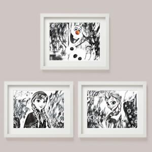 Set of 3 Disney Frozen Elsa Anna Sketch ART Picture Print Nursery Bedroom