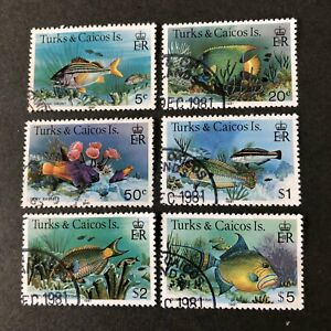 "TURKS & CAICOS IS, SCOTT # 364a+369a+371a-374a(4) 1981 FISH INSCRIBED ""1981 USED"