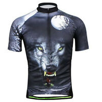 New Cycling Jersey Bike Bicycle short sleeve Shirt Top Wild wolf Quick Dry S-3XL