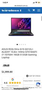 "ASUS ROG Strix G15 G512LI 15.6"" (512GB SSD, Intel Core i7 10th Gen., 5.00GHz,..."