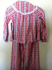 Lanz of Salzburg Girls SIZE X SMALL 4/5 RED HEARTS Flannel Pajama Set WARM SOFT