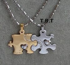 doppio Puzzle Acciaio-Stainless Steel-Coppia Ciondoli collana uomo+donna oro