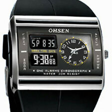 Ohsen Black Strap LCD Digital/Analog Alarm Womens Quartz Sport Watch x'Mas GIFT