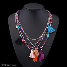 Fashion Jewelry Tassel Charm Necklace Feather Pendant Multilayer Chain for Women