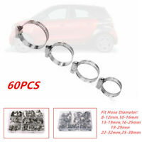 60x Stainless Steel Hose Pipe Hoop Strong Hose Clamps Wire Assorted Kit for Cars