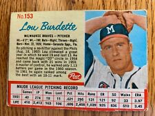New listing 1962 Post Cereal card Lou (Lew) Burdette; no creases, VG condition