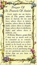 """ Prayer of St Saint Francis of Assisi "" ~ Litho Prayer Card made in Italy"