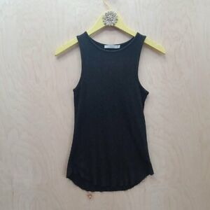 Vince Raw Rounded Hems Basic Black Tank Top S