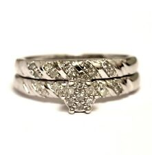 10k white gold .16ct SI2 H round solitaire engagement wedding band ring 4.8g