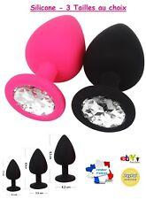 Silicone Plug Anal + Crystal + Fourreau 3 Tailles au choix - Sextoy Rosebud Sexe