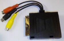 Through Scart Adaptor with m-f scart sockets & 3 Phono Socket fly Leads inputs
