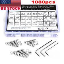 New listing M2 M3 M4 Socket Cap Flat Button Head Bolt Screws Hex Nut Washer Set 1080Pcs
