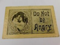 Antique 1911 Postcard Do Not Be Angry Man Woman Kissing