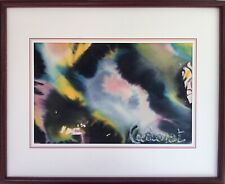 Michel CADORET 1915-1985.Composition abstraite.C.1980.Aquarelle.SBD.14x22.Cadre.