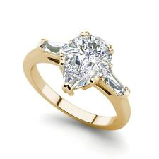 Baguette Accents 1 Ct SI1/D Pear Cut Diamond Engagement Ring Yellow Gold