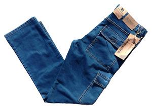Nuovo Jeans Uomo Estivo Elasticizzato Cargo Tasconi Regular Fit Tg.46/60